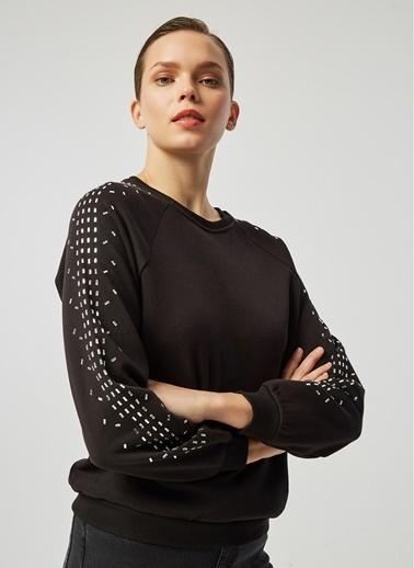 Monamoda Taşlı Sweatshirt Siyah